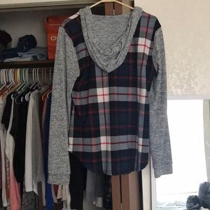 eye candy Tops - Hooded flannel shirt